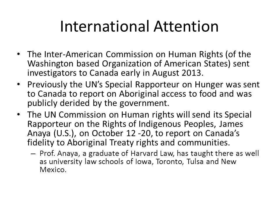 International Attention The Inter-American Commission on Human Rights (of the Washington based Organization of American States) sent investigators to