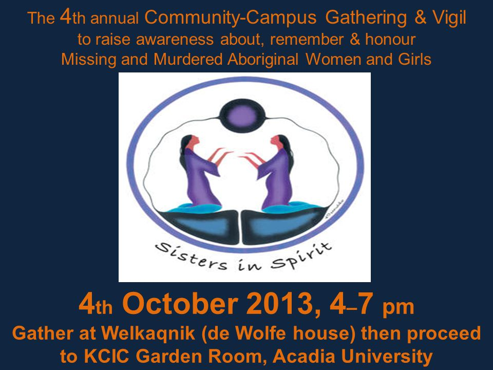 4 th October 2013, 4 – 7 pm Gather at Welkaqnik (de Wolfe house) then proceed to KCIC Garden Room, Acadia University The 4 th annual Community-Campus