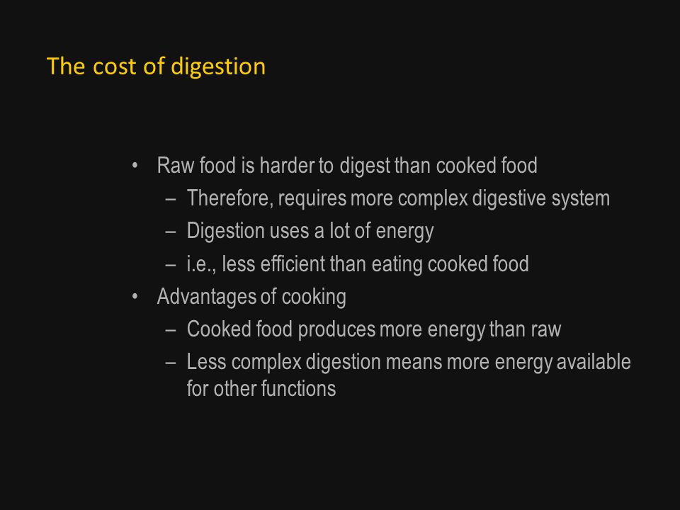 The cost of digestion Raw food is harder to digest than cooked food –Therefore, requires more complex digestive system –Digestion uses a lot of energy –i.e., less efficient than eating cooked food Advantages of cooking –Cooked food produces more energy than raw –Less complex digestion means more energy available for other functions