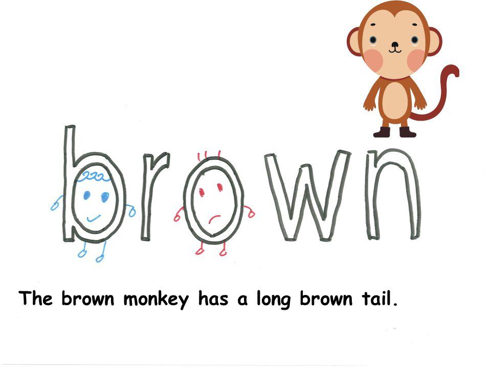 The brown monkey has a long brown tail.
