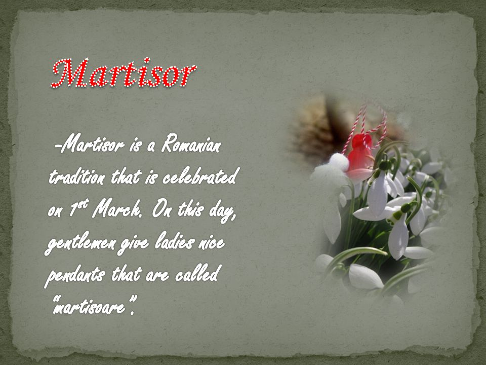 -A martisor is made of white and red string and a nice pendant that can illustrate a flower, a clover or other things.