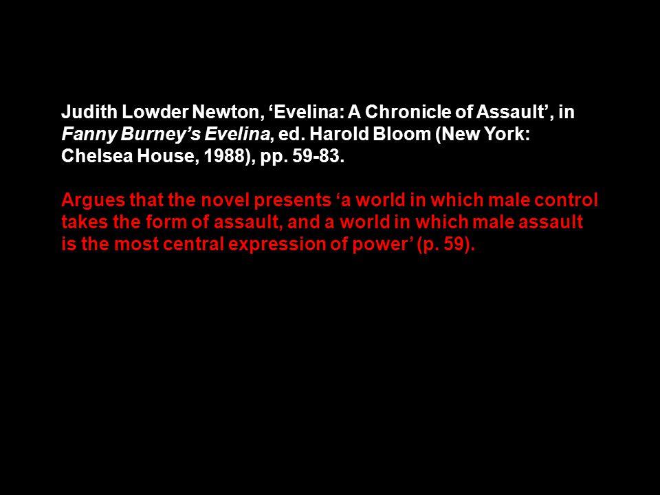 Judith Lowder Newton, Evelina: A Chronicle of Assault, in Fanny Burneys Evelina, ed.