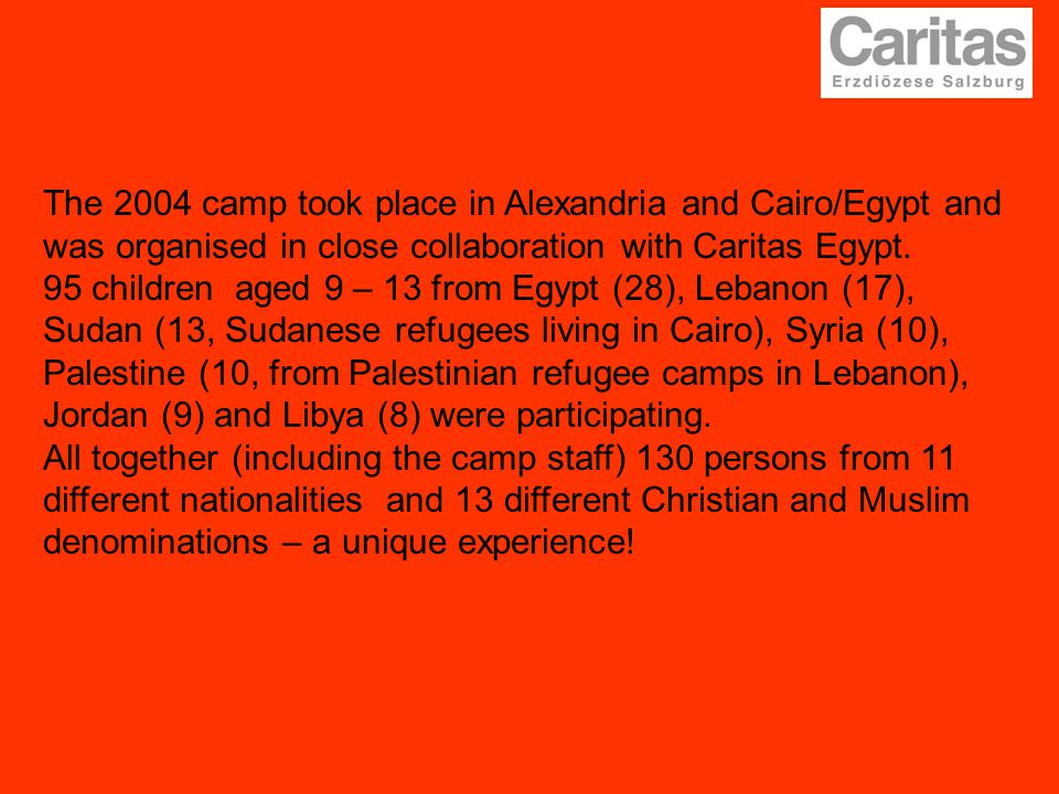 The 2004 camp took place in Alexandria and Cairo/Egypt and was organised in close collaboration with Caritas Egypt. 95 children aged 9 – 13 from Egypt