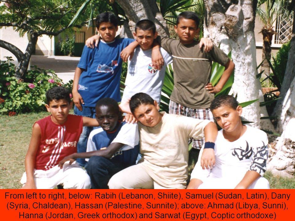 From left to right, below: Rabih (Lebanon, Shiite), Samuel (Sudan, Latin), Dany (Syria, Chaldean), Hassan (Palestine, Sunnite); above: Ahmad (Libya, Sunni), Hanna (Jordan, Greek orthodox) and Sarwat (Egypt, Coptic orthodoxe)
