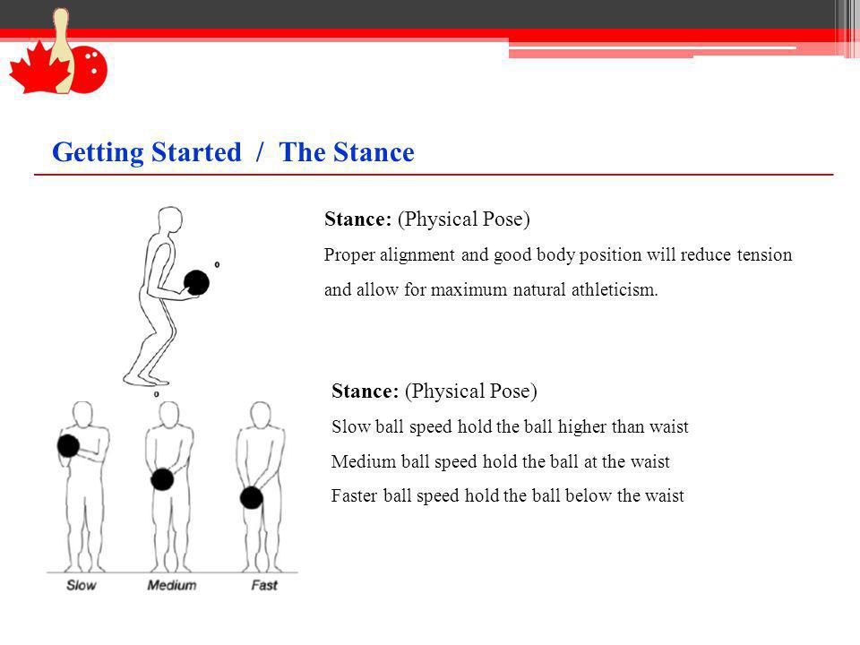 Stance: (Physical Pose) Proper alignment and good body position will reduce tension and allow for maximum natural athleticism. Stance: (Physical Pose)