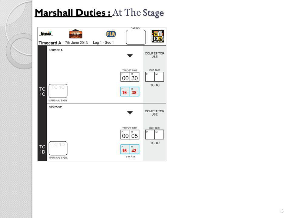 15 Marshall Duties : Stage Marshall Duties : At The Stage 16 38 16 43
