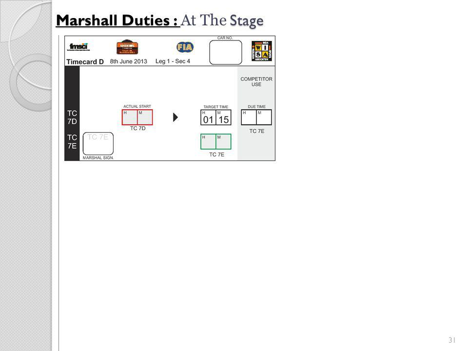 31 Marshall Duties : Stage Marshall Duties : At The Stage