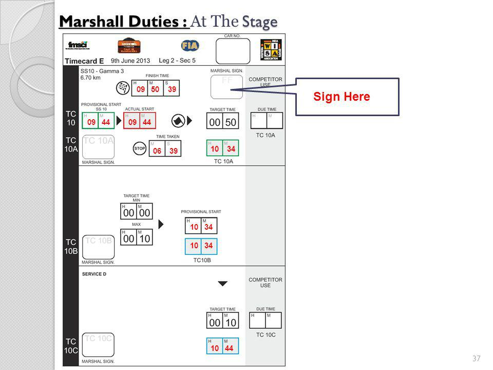 37 Marshall Duties : Stage Marshall Duties : At The Stage 09 44 10 34 06 39 09 50 39 10 34 10 44 Sign Here