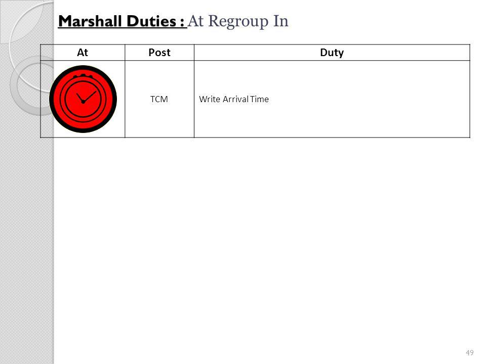 49 Marshall Duties : Marshall Duties : At Regroup In AtPostDuty TCMWrite Arrival Time