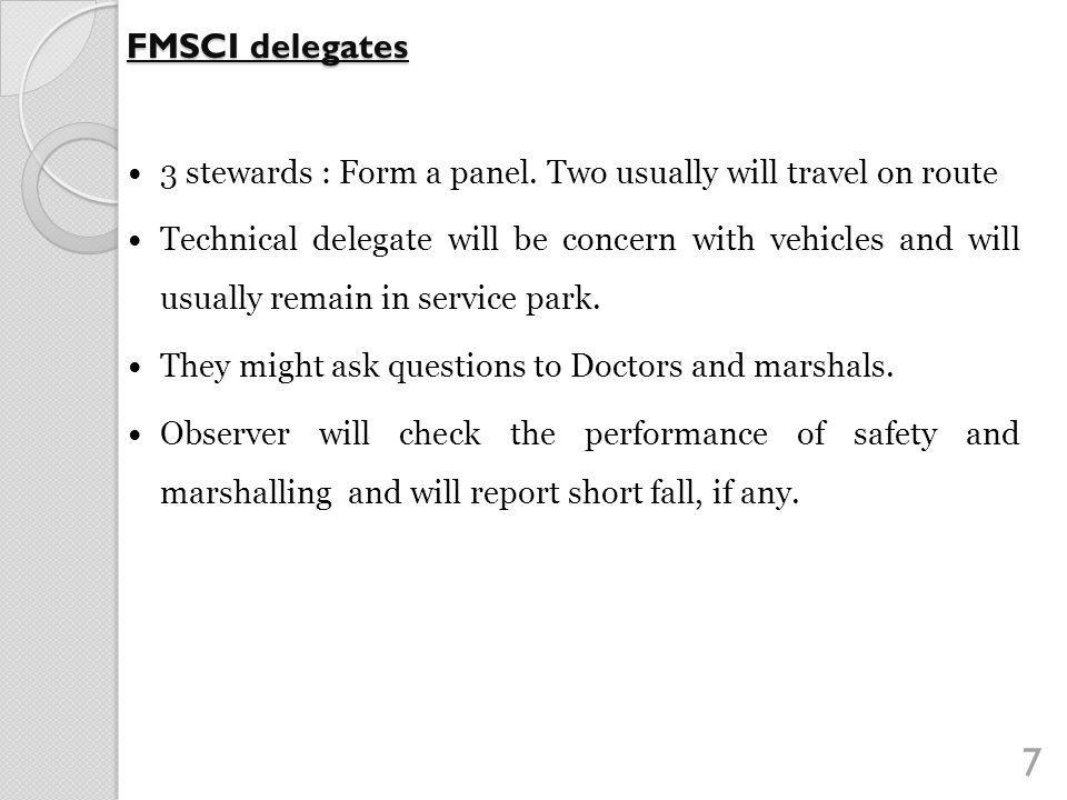 8 FMSCI delegates : Observers Report Marshalling points 1.5.