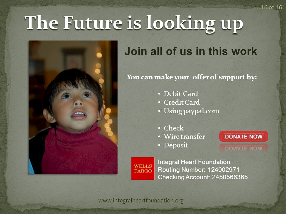 The Future is looking up www.integralheartfoundation.org 16 of 16 Join all of us in this work You can make your offer of support by: Debit Card Credit Card Using paypal.com Check Wire transfer Deposit Integral Heart Foundation Routing Number: 124002971 Checking Account: 2450566365