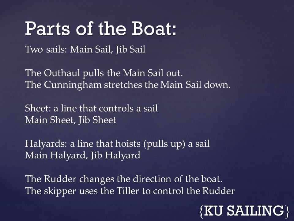 Parts of the Boat: { KU SAILING } Two sails: Main Sail, Jib Sail The Outhaul pulls the Main Sail out. The Cunningham stretches the Main Sail down. She