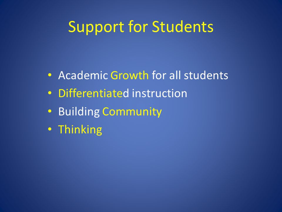 Support for Students Academic Growth for all students Differentiated instruction Building Community Thinking