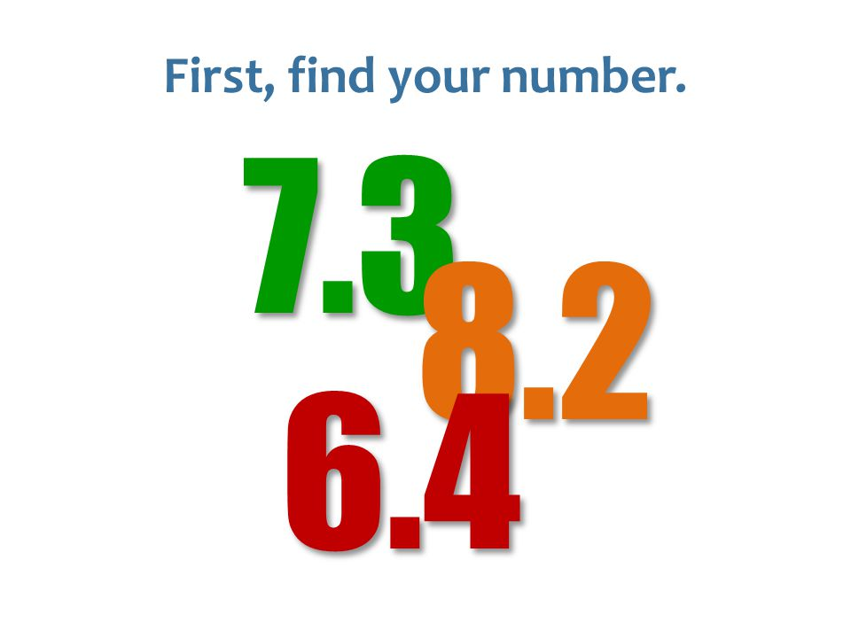 First, find your number.7.38.2 6.4
