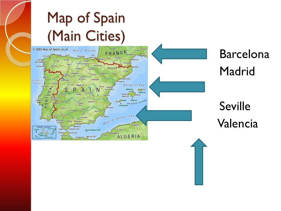 Map of Spain (Main Cities) Barcelona Madrid Seville Valencia