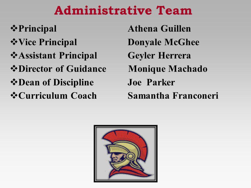 Administrative Team PrincipalAthena Guillen Vice PrincipalDonyale McGhee Assistant PrincipalGeyler Herrera Director of Guidance Monique Machado Dean o