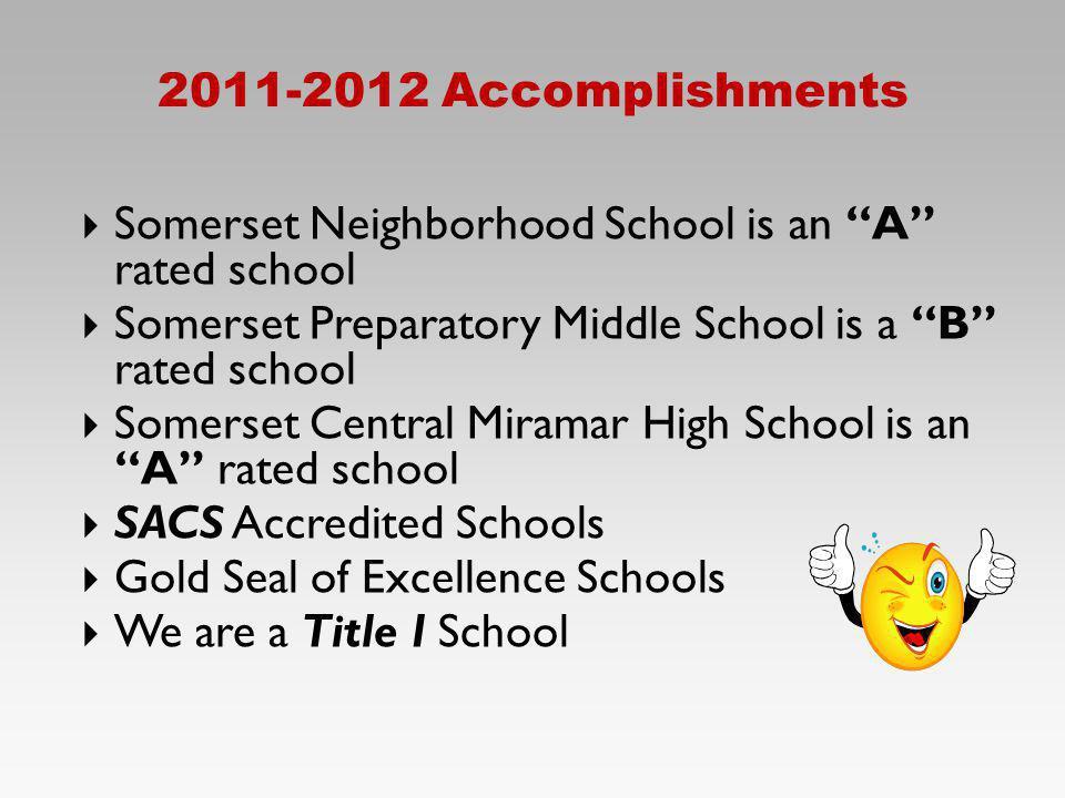 2011-2012 Accomplishments Somerset Neighborhood School is an A rated school Somerset Preparatory Middle School is a B rated school Somerset Central Mi