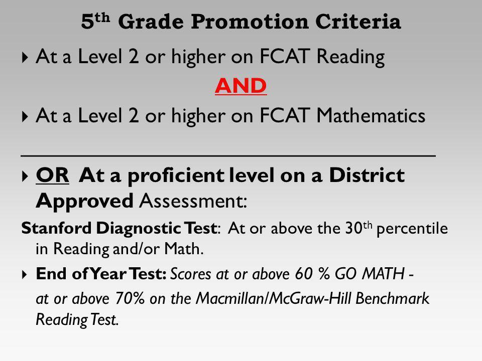 5 th Grade Promotion Criteria At a Level 2 or higher on FCAT Reading AND At a Level 2 or higher on FCAT Mathematics __________________________________