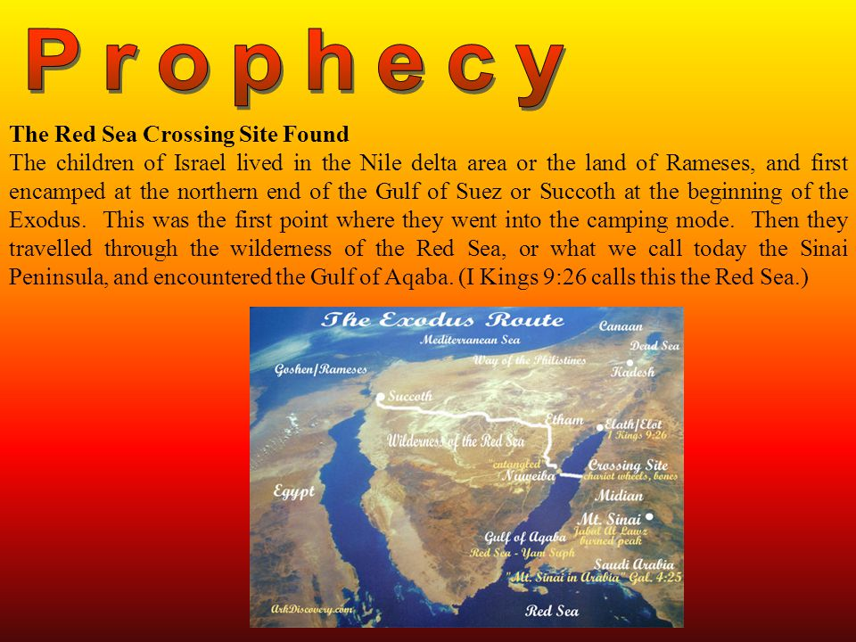 The Red Sea Crossing Site Found The children of Israel lived in the Nile delta area or the land of Rameses, and first encamped at the northern end of the Gulf of Suez or Succoth at the beginning of the Exodus.