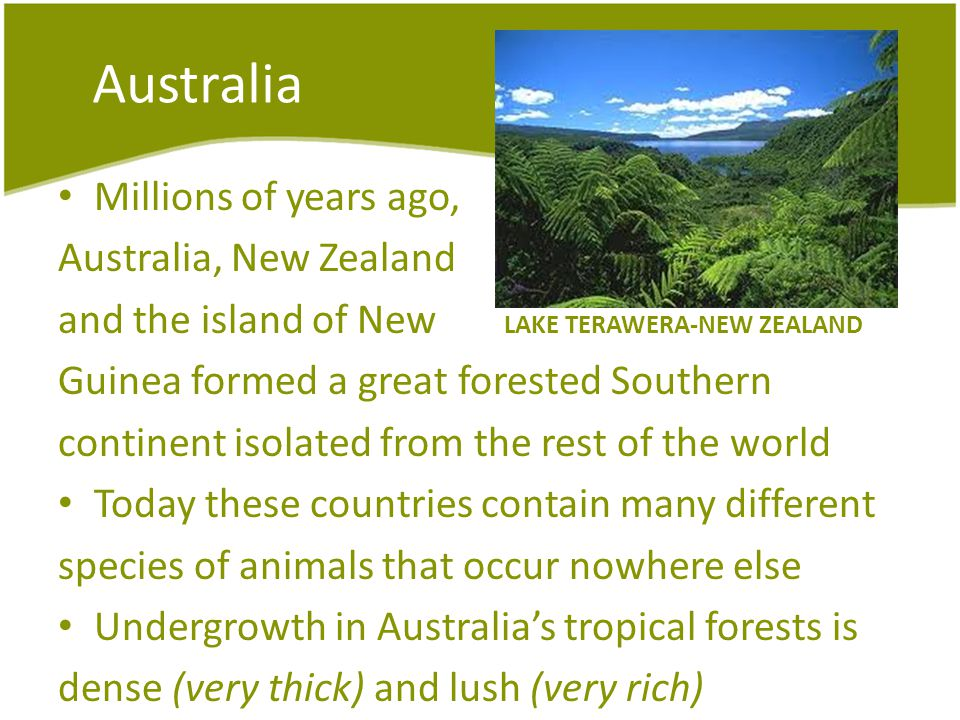 Australia Millions of years ago, Australia, New Zealand and the island of New LAKE TERAWERA-NEW ZEALAND Guinea formed a great forested Southern contin
