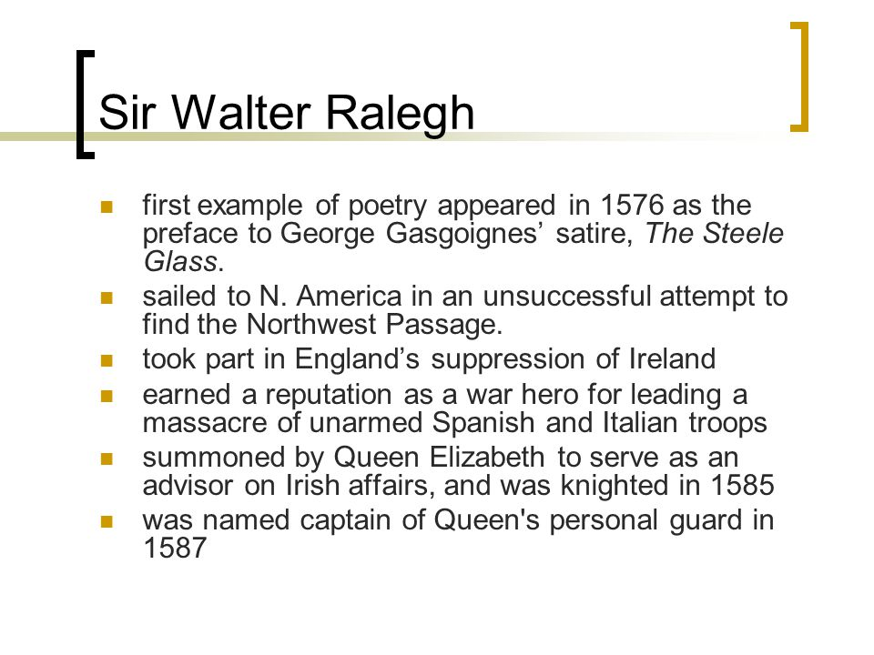 Raleghs (Nymphs)reply: Ralegh uses the same meter and references to present mirror images of Marlowe s poem.