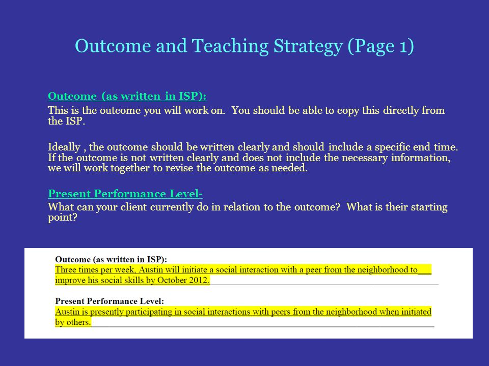 Outcome and Teaching Strategy (Page 1) Outcome (as written in ISP): This is the outcome you will work on. You should be able to copy this directly fro