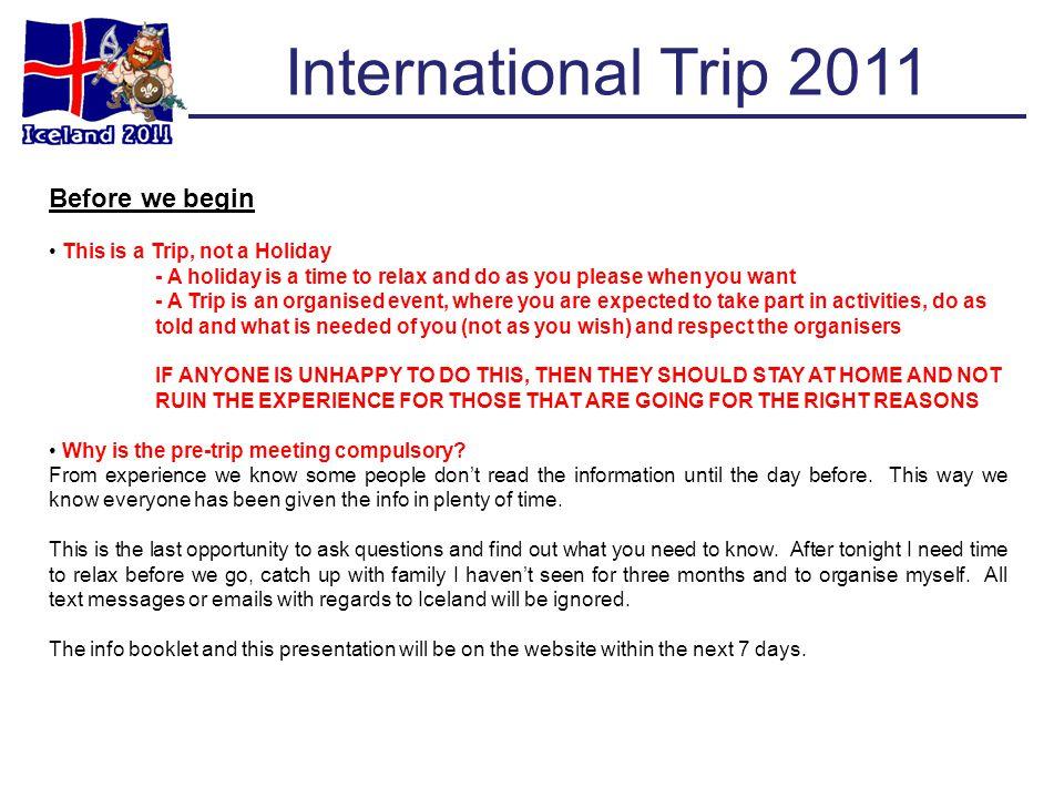 International Trip 2011 Food Prices
