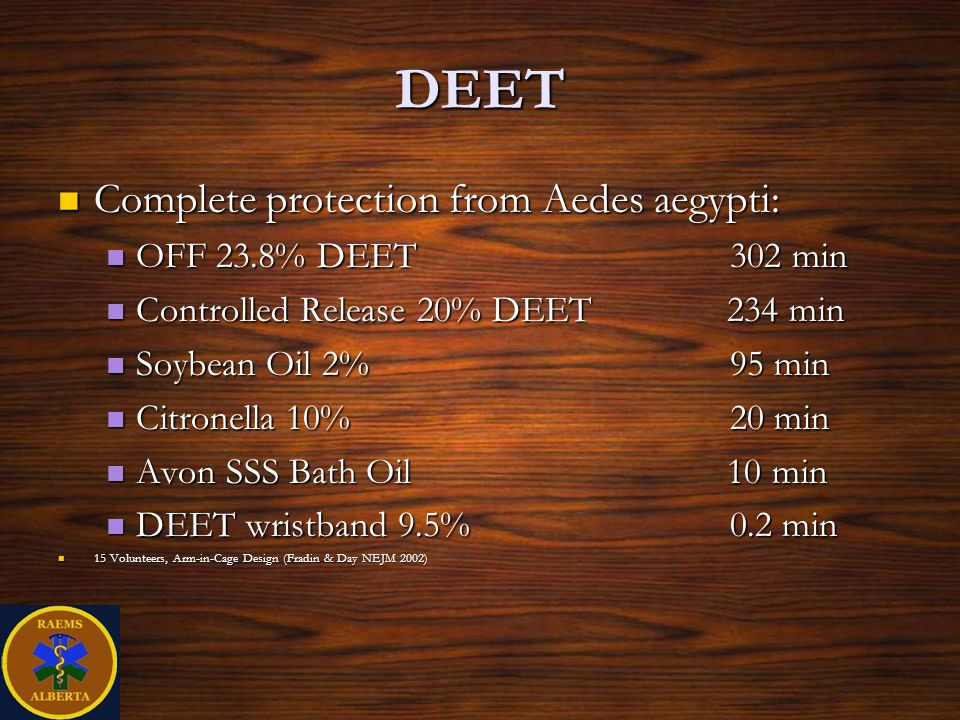 DEET Complete protection from Aedes aegypti: Complete protection from Aedes aegypti: OFF 23.8% DEET302 min OFF 23.8% DEET302 min Controlled Release 20% DEET 234 min Controlled Release 20% DEET 234 min Soybean Oil 2%95 min Soybean Oil 2%95 min Citronella 10%20 min Citronella 10%20 min Avon SSS Bath Oil 10 min Avon SSS Bath Oil 10 min DEET wristband 9.5%0.2 min DEET wristband 9.5%0.2 min 15 Volunteers, Arm-in-Cage Design (Fradin & Day NEJM 2002) 15 Volunteers, Arm-in-Cage Design (Fradin & Day NEJM 2002)