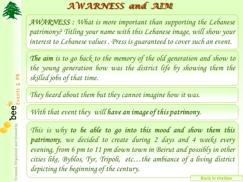 AWARNESS and AIM AWARNESS and AIM This is why to be able to go into this mood and show them this patrimony, we decided to create during 2 days and 4 w