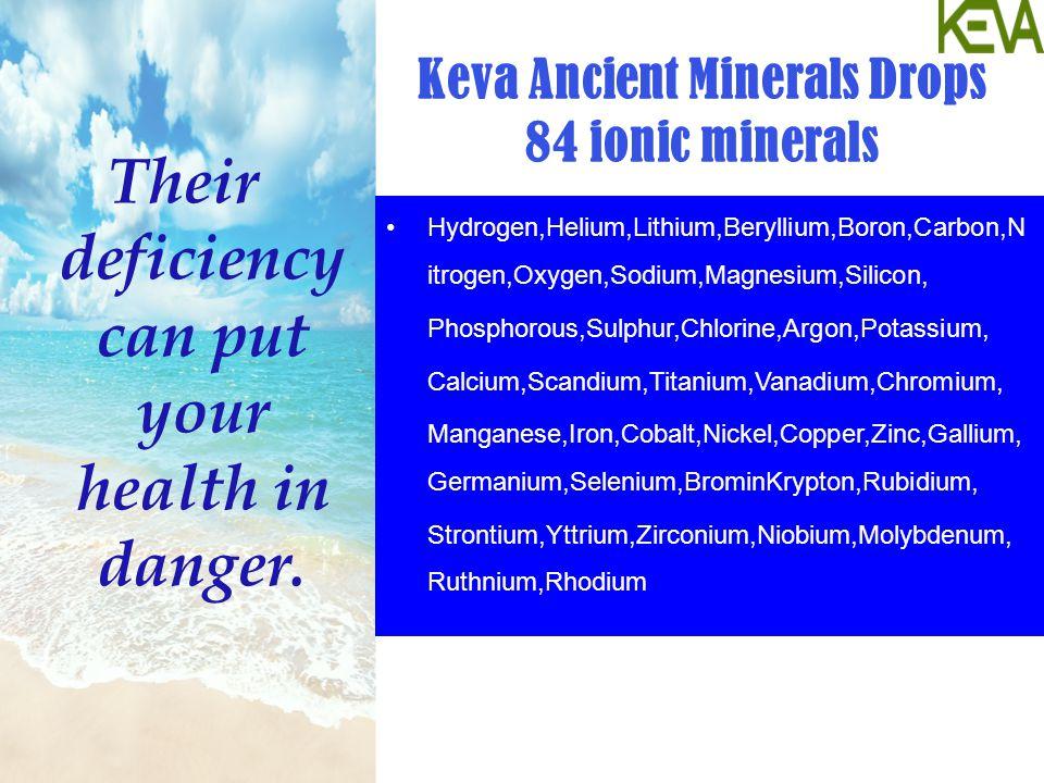 Keva Ancient Minerals Drops 84 ionic minerals Hydrogen,Helium,Lithium,Beryllium,Boron,Carbon,N itrogen,Oxygen,Sodium,Magnesium,Silicon, Phosphorous,Sulphur,Chlorine,Argon,Potassium, Calcium,Scandium,Titanium,Vanadium,Chromium, Manganese,Iron,Cobalt,Nickel,Copper,Zinc,Gallium, Germanium,Selenium,BrominKrypton,Rubidium, Strontium,Yttrium,Zirconium,Niobium,Molybdenum, Ruthnium,Rhodium Their deficiency can put your health in danger.
