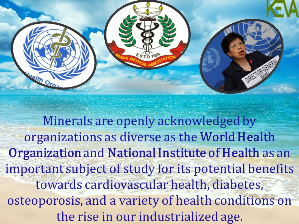 Minerals are openly acknowledged by organizations as diverse as the World Health Organization and National Institute of Health as an important subject