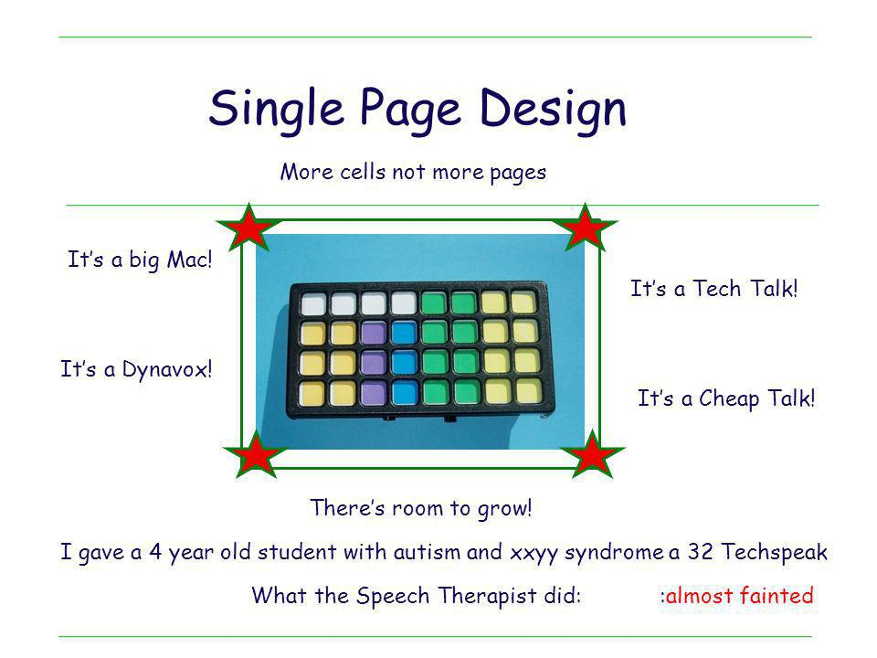 Single Page Design More cells not more pages :almost fainted I gave a 4 year old student with autism and xxyy syndrome a 32 Techspeak What the Speech