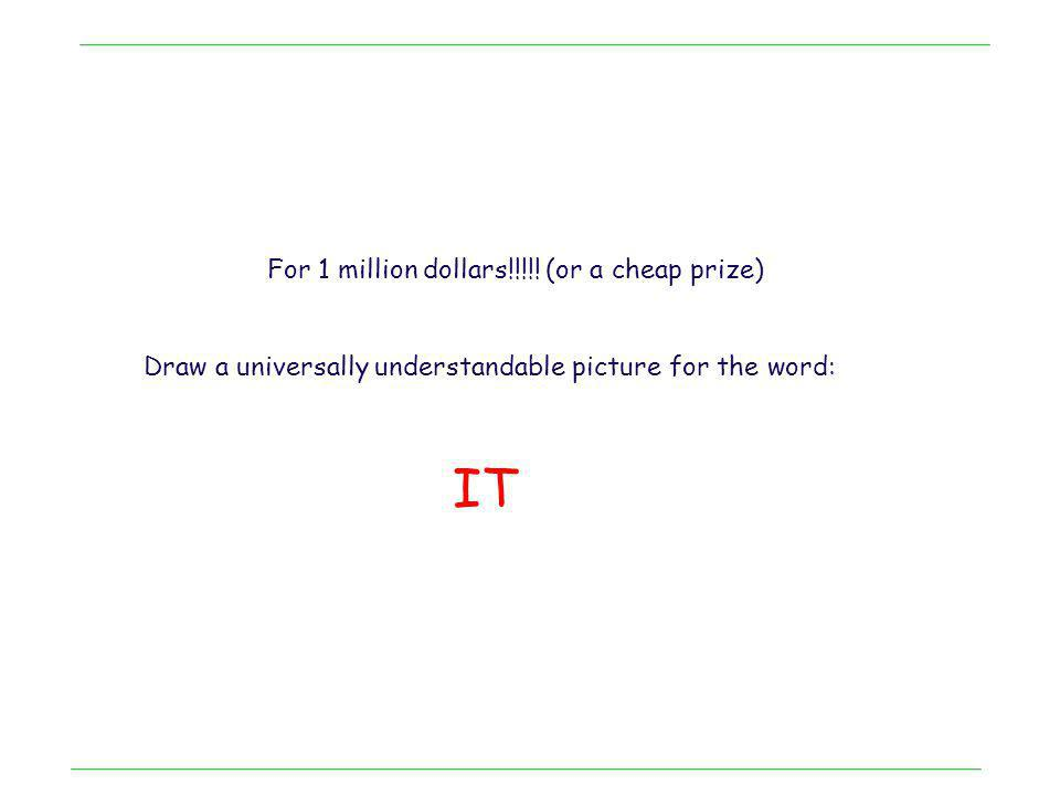 For 1 million dollars!!!!! (or a cheap prize) Draw a universally understandable picture for the word: IT
