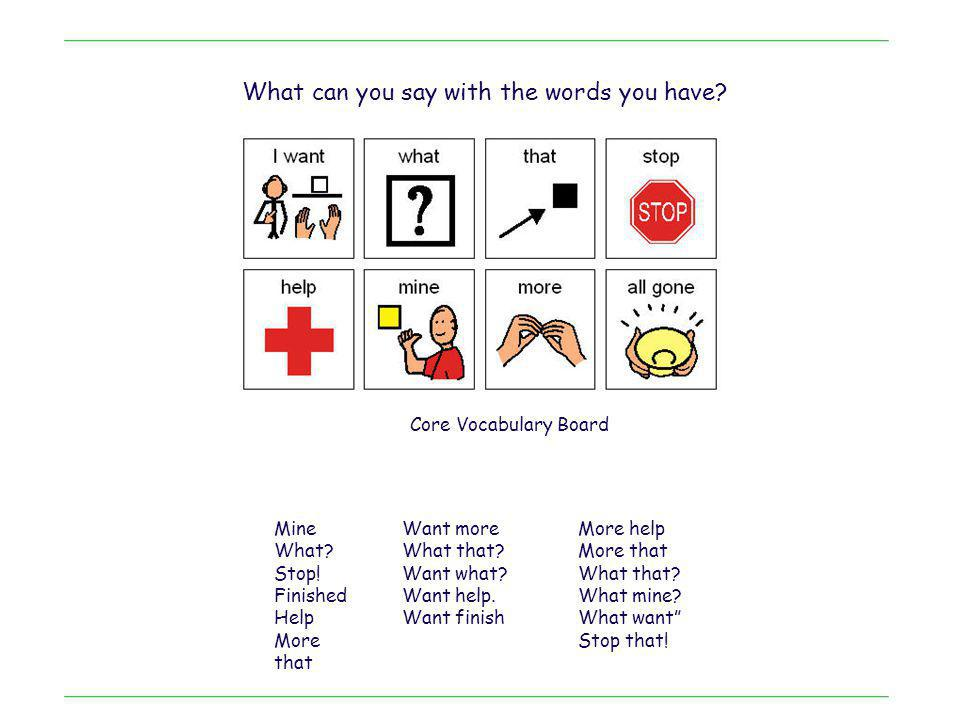 Core Vocabulary Board Mine What? Stop! Finished Help More that Want more What that? Want what? Want help. Want finish More help More that What that? W