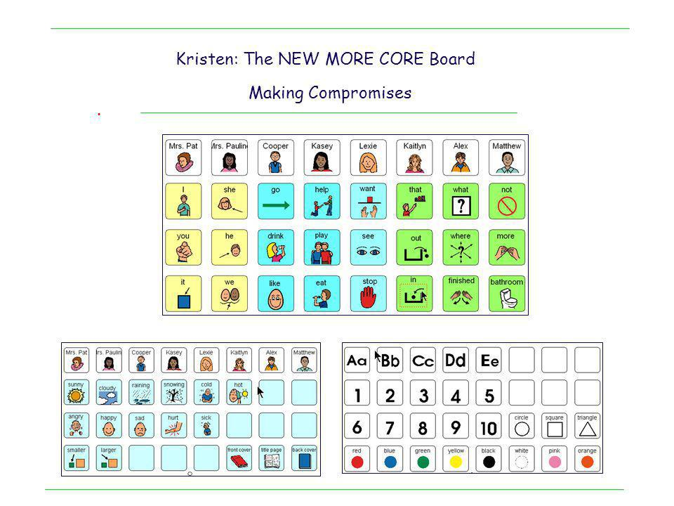 . Kristen: The NEW MORE CORE Board Making Compromises