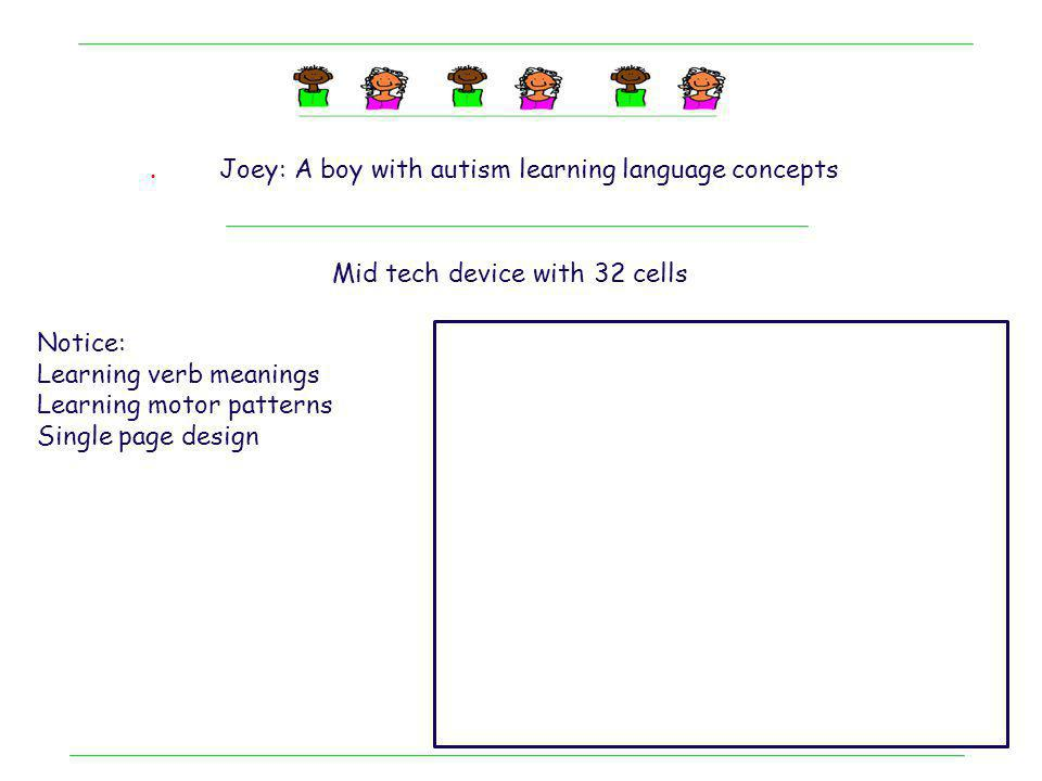 . Joey: A boy with autism learning language concepts Mid tech device with 32 cells Notice: Learning verb meanings Learning motor patterns Single page