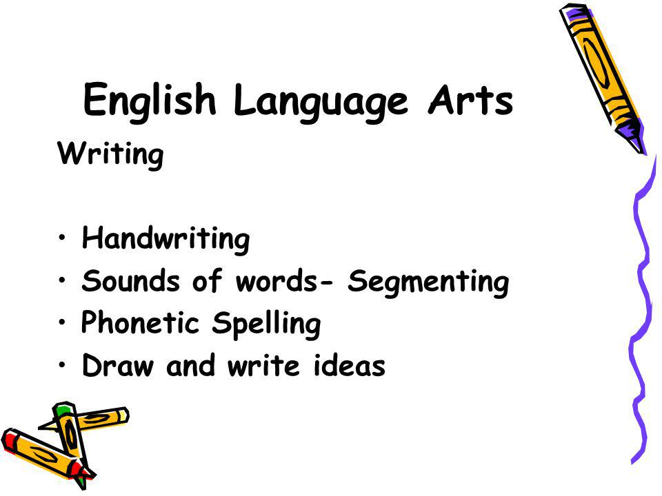 English Language Arts Writing Handwriting Sounds of words- Segmenting Phonetic Spelling Draw and write ideas