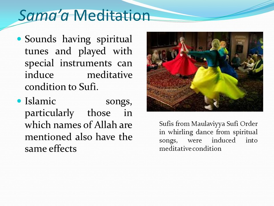 The form factor of Meditation Form factor of a meditation is the event Sufi used to go into meditation, the event has the ability to induce meditative influence on the mind, spirit and the body of the Sufi.
