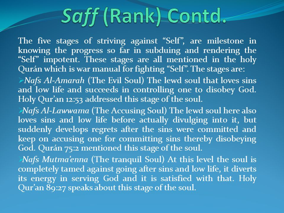 When a Sufi strive to correct his self, the self progresses from the lowest stage of Nafs Al-Amarah to Nafs Al-Lawwama, then to Nafs Al-Mutmaenna, then Nafs Al-Radiyat and finally to Nafs Al-Mardiyyat.