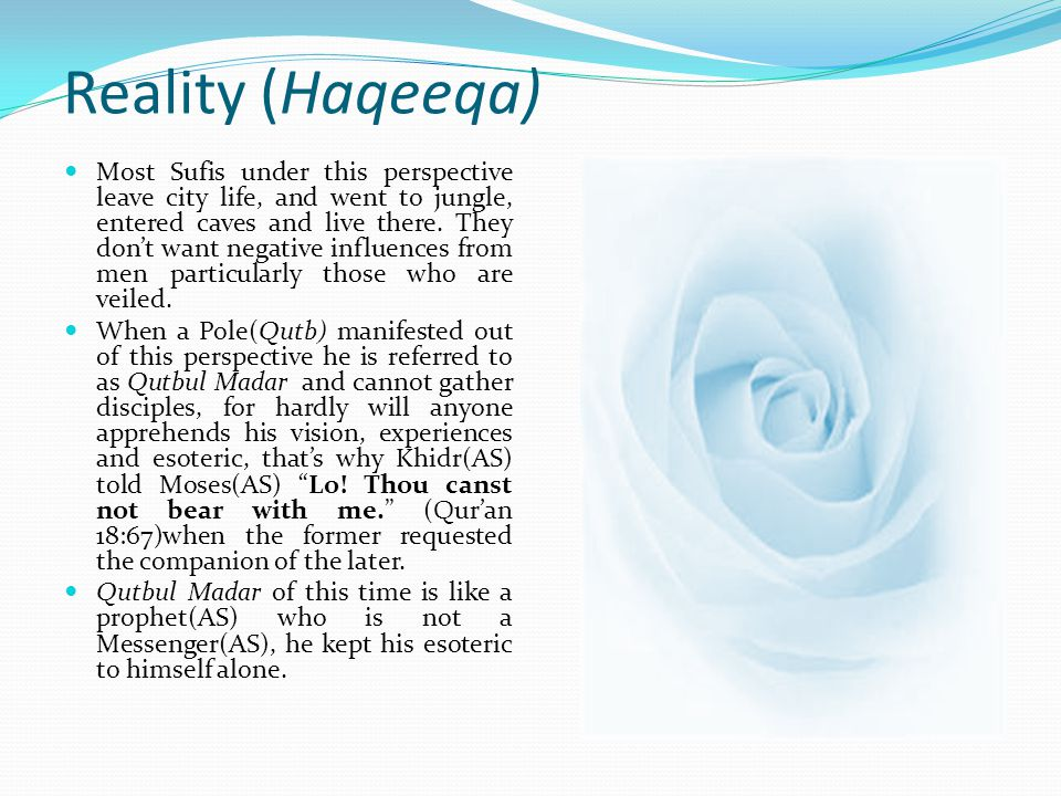 Reality (Haqeeqa) A Sufi that his vision is unveiled by God and sees everything from Gods perspective is referred to as Mutahaqqeeq.