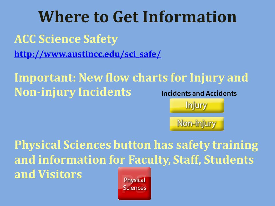 Where to Get Information ACC Science Safety http://www.austincc.edu/sci_safe/ Important: New flow charts for Injury and Non-injury Incidents Incidents and Accidents Physical Sciences button has safety training and information for Faculty, Staff, Students and Visitors