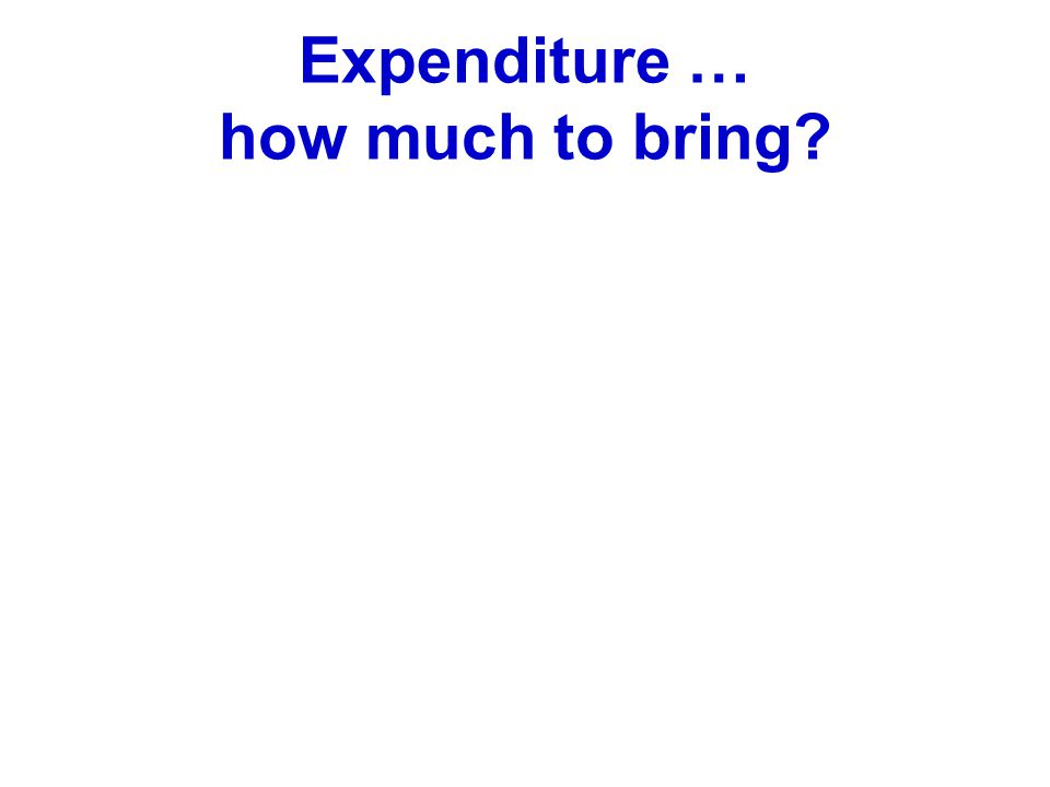 Expenditure … how much to bring?