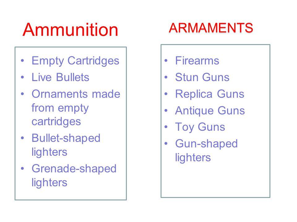 Ammunition Empty Cartridges Live Bullets Ornaments made from empty cartridges Bullet-shaped lighters Grenade-shaped lighters ARMAMENTS Firearms Stun Guns Replica Guns Antique Guns Toy Guns Gun-shaped lighters