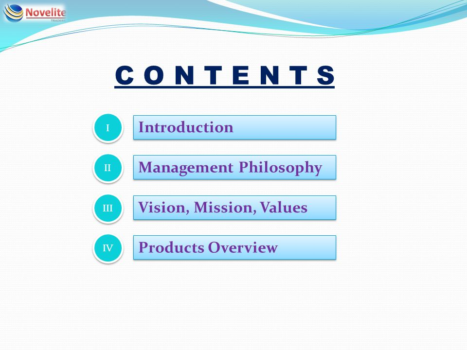 Introduction I I Management Philosophy II Vision, Mission, Values III Products Overview IV C O N T E N T S