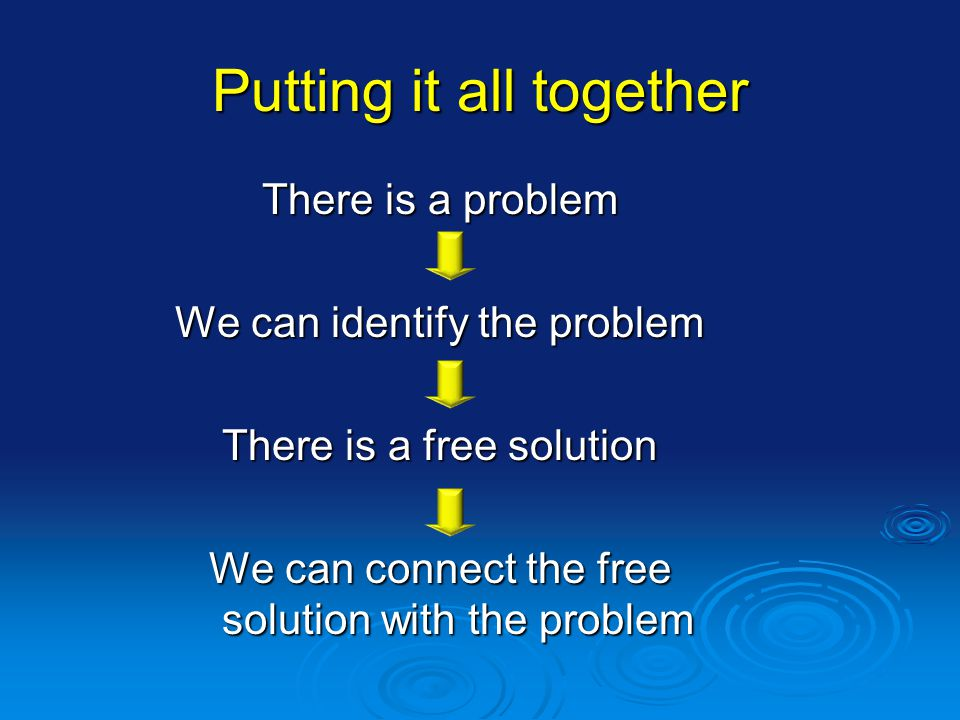 Putting it all together There is a problem We can identify the problem There is a free solution We can connect the free solution with the problem