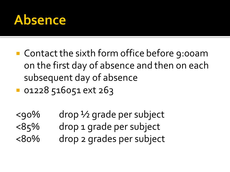 Contact the sixth form office before 9:00am on the first day of absence and then on each subsequent day of absence 01228 516051 ext 263 <90% drop ½ gr