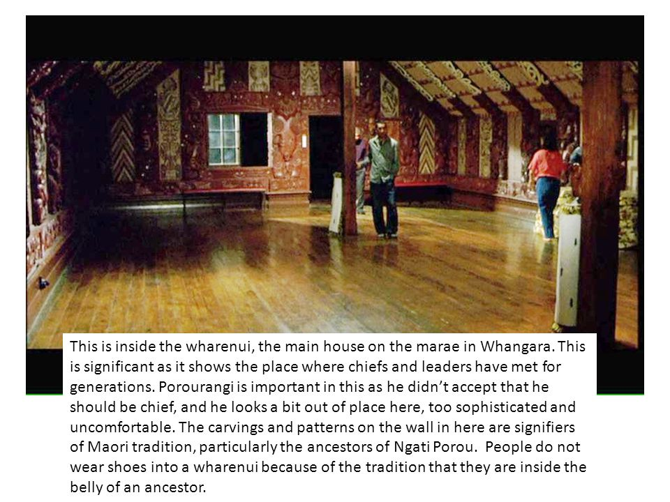 This is inside the wharenui, the main house on the marae in Whangara.