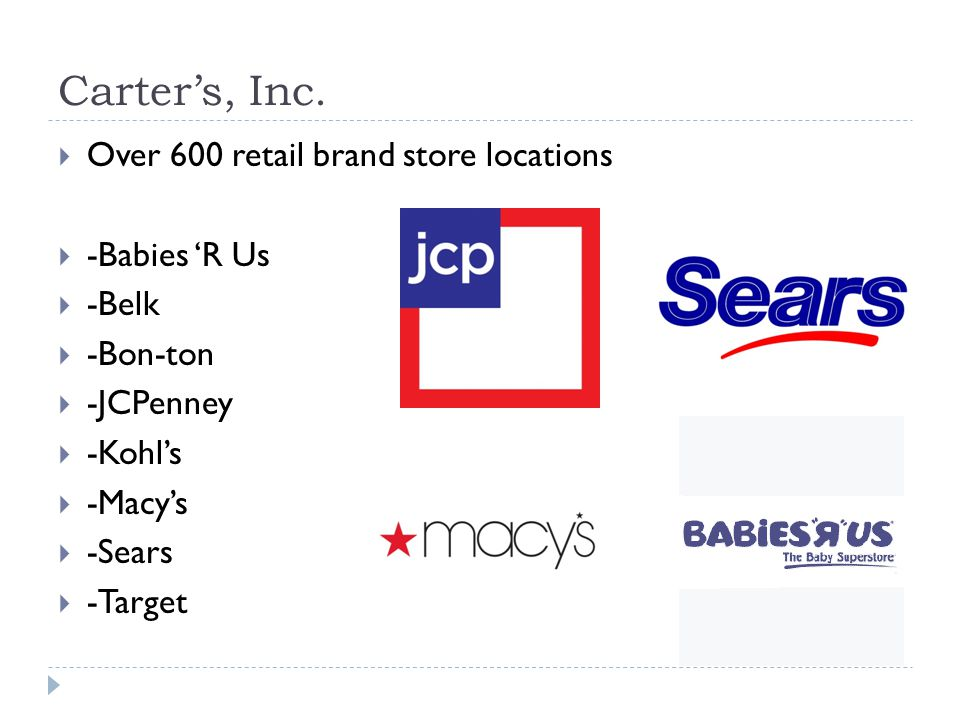 Carters, Inc. Over 600 retail brand store locations -Babies R Us -Belk -Bon-ton -JCPenney -Kohls -Macys -Sears -Target