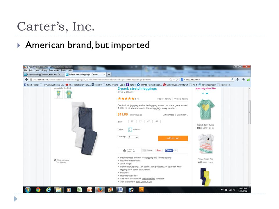 Carters, Inc. American brand, but imported