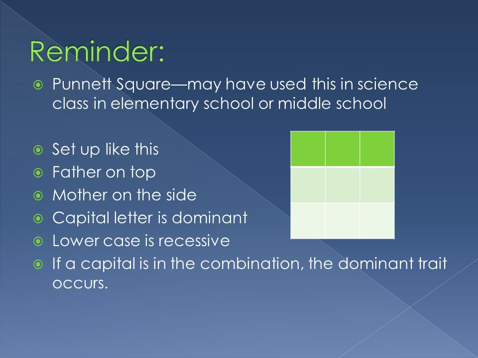 Punnett Squaremay have used this in science class in elementary school or middle school Set up like this Father on top Mother on the side Capital letter is dominant Lower case is recessive If a capital is in the combination, the dominant trait occurs.